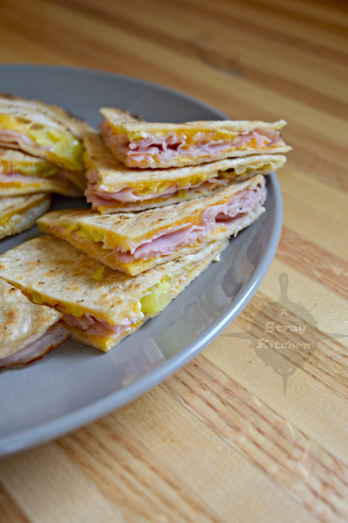 Ham and Cheese Quesadilla's with Pepperoncini's from A Stray Kitchen